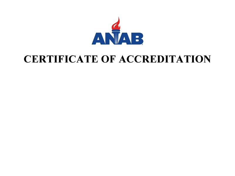 H Rohloff – ANAB Certification