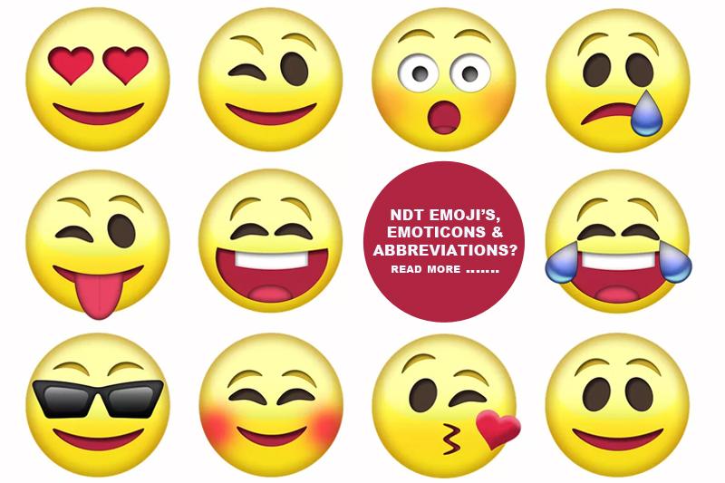 NDT emojis, emoticons and abbreviations